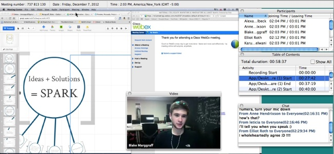 Candidates meet and share materials on WebEx, getting feedback from peer candidates, NCIIA and Stanford/Epicenter.